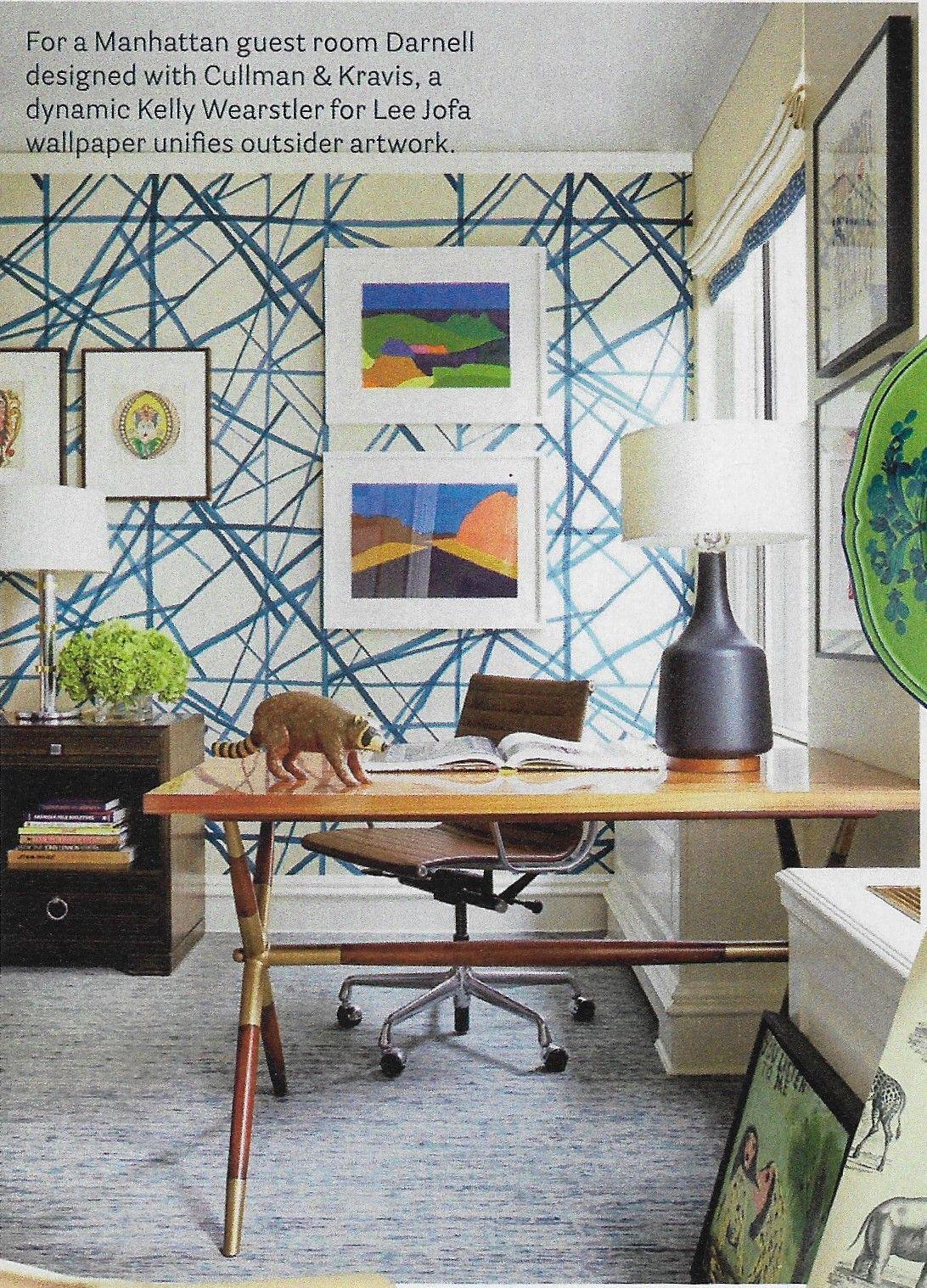 kelly wearstler wallpaper, blue graphic wallpaper, art hung
