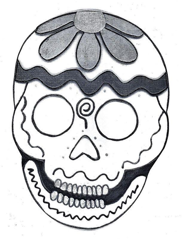 Pinto Dibujos: Dibujo para colorear de calaveras de día de muertos ...
