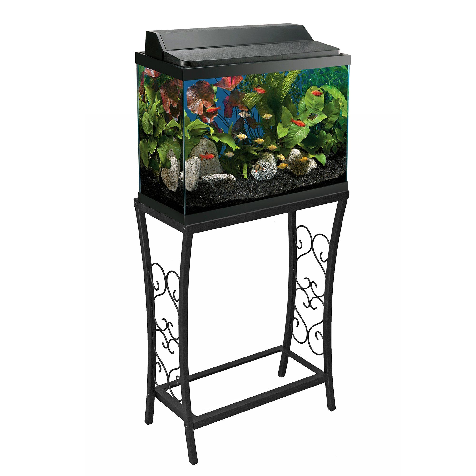 Aquatic Fundamentals Black Scroll Aquarium Stand for 10