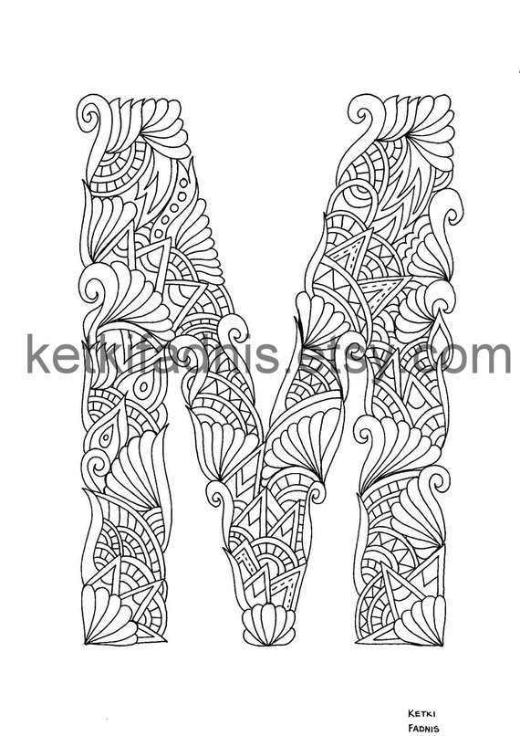 Letter M Coloring Page Instant Pdf Download Alphabet Etsy In 2021 Alphabet Coloring Pages Printable Coloring Pages Coloring Pages