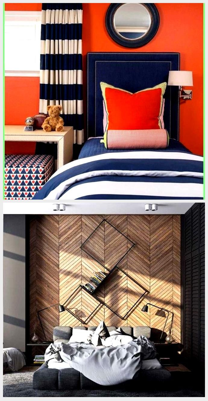 Best Wallpaper Accent Wall – Navy And Bright Orange Boy's 400 x 300