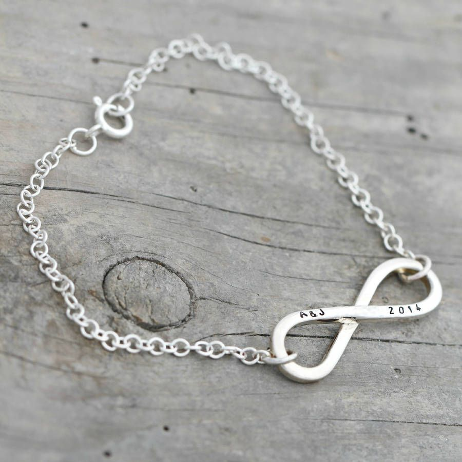 As part of the Infinity Collection, this beautiful bespoke Personalised Infinity Bracelet is handmade from 925 sterling silver by Brighton based, Posh Totty Designs.We advise a maximum of 6 characters (including spaces) on each side of the pendant (as seen in the product photo). Please note this item can be personalised on one side only. The 'left field' to enter personalisation into, will be the left side as you see it in the image (Alice) Each item is individually handmade in the Posh ...