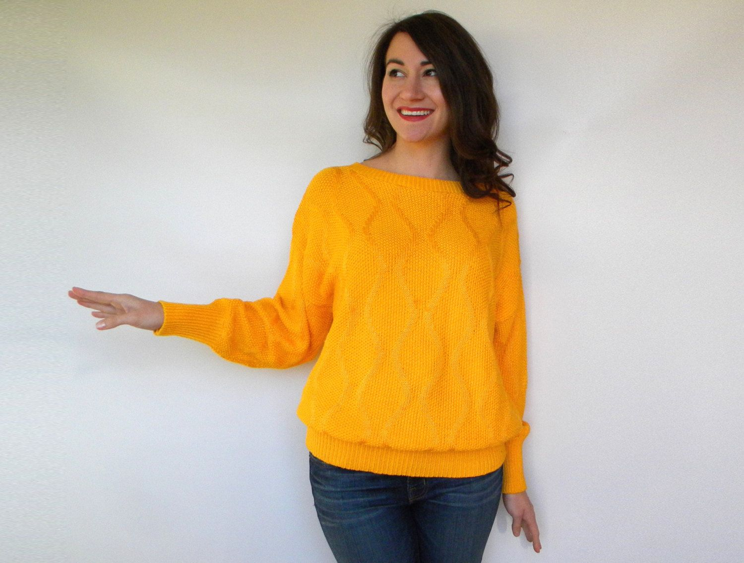 80s Canary Yellow Sweater | Cotton Knit Sweater Large | New Items ...