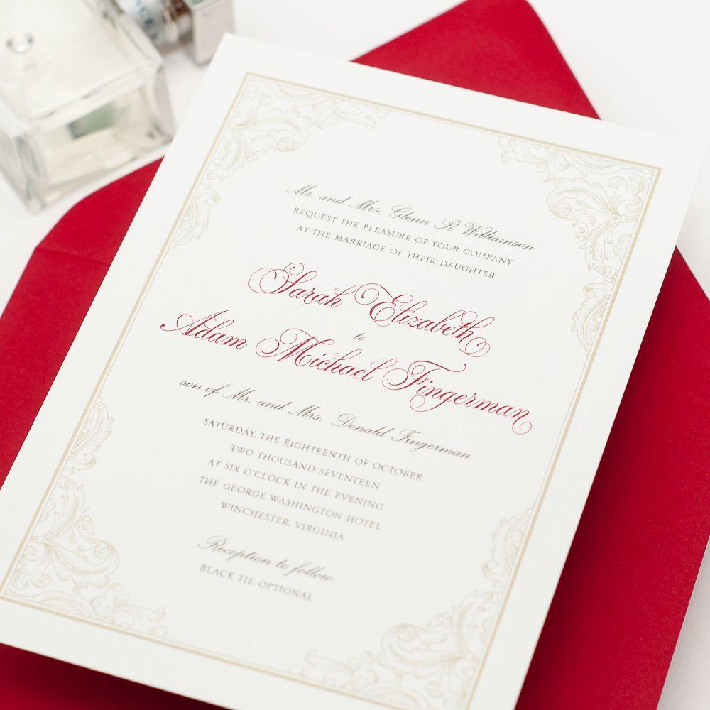 VIRGINIA Wedding Invitation, Elegant, Ornate Border, Red and White ...