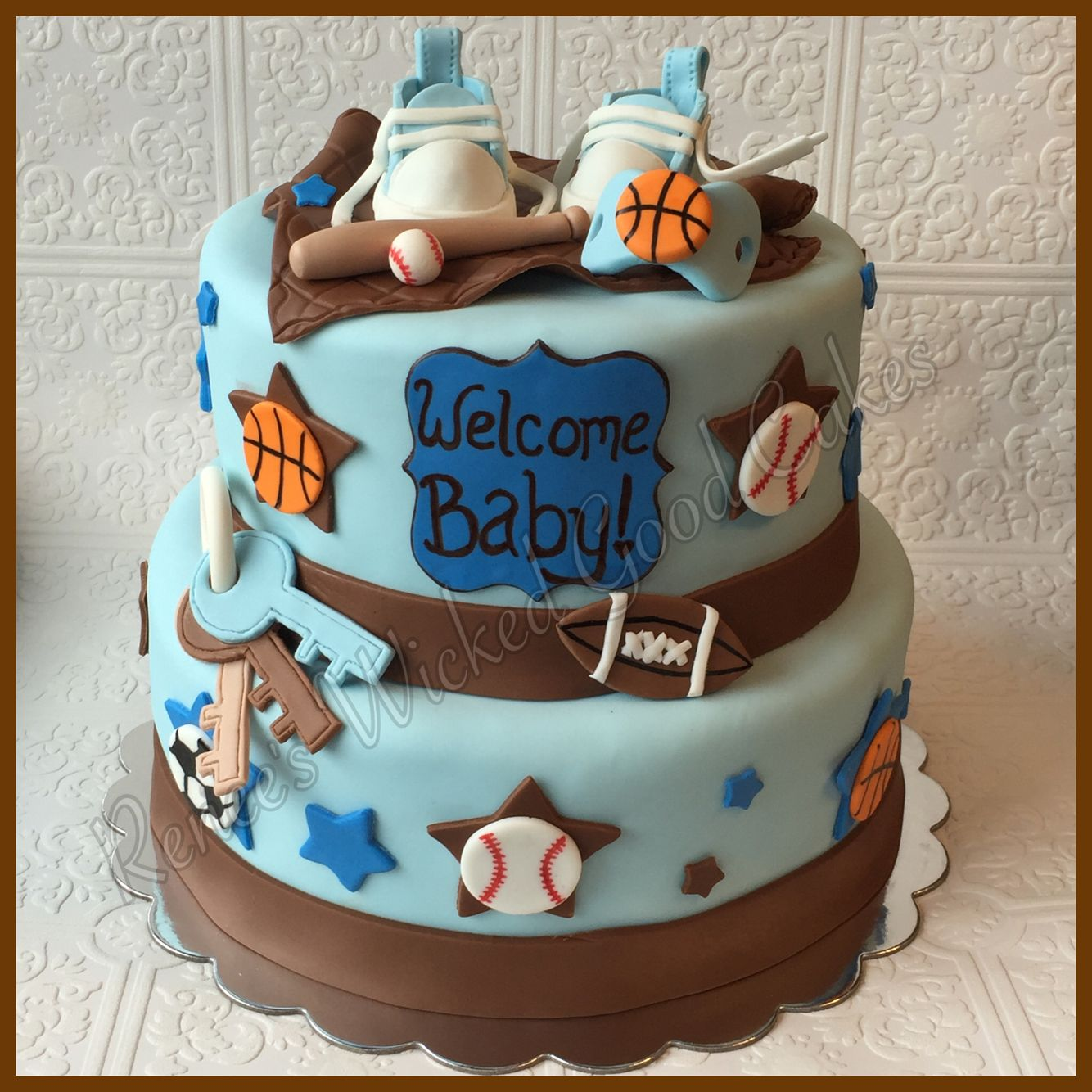 Boys Baby Shower Cake: Welcome Baby! Sports Themed Baby Shower. Baby Boy. Renee's