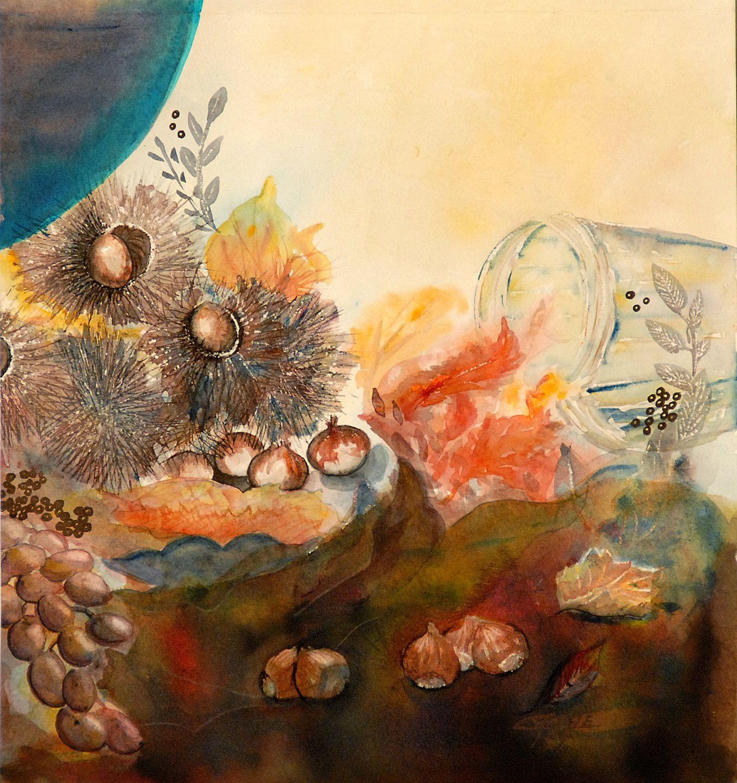 les châtaignes, aquarelle nature morte aux fruits d'automne : Peintures par cyane