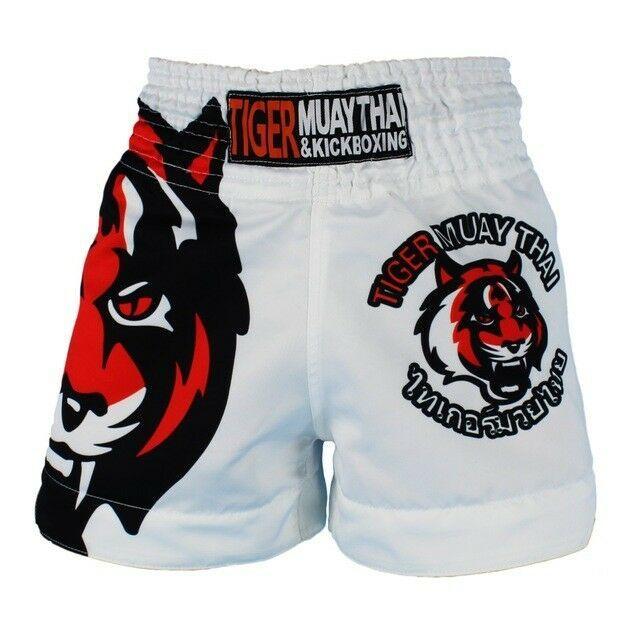 SUOTF Black White Tiger Muay Thai shorts Boxing MMA fitness training pants