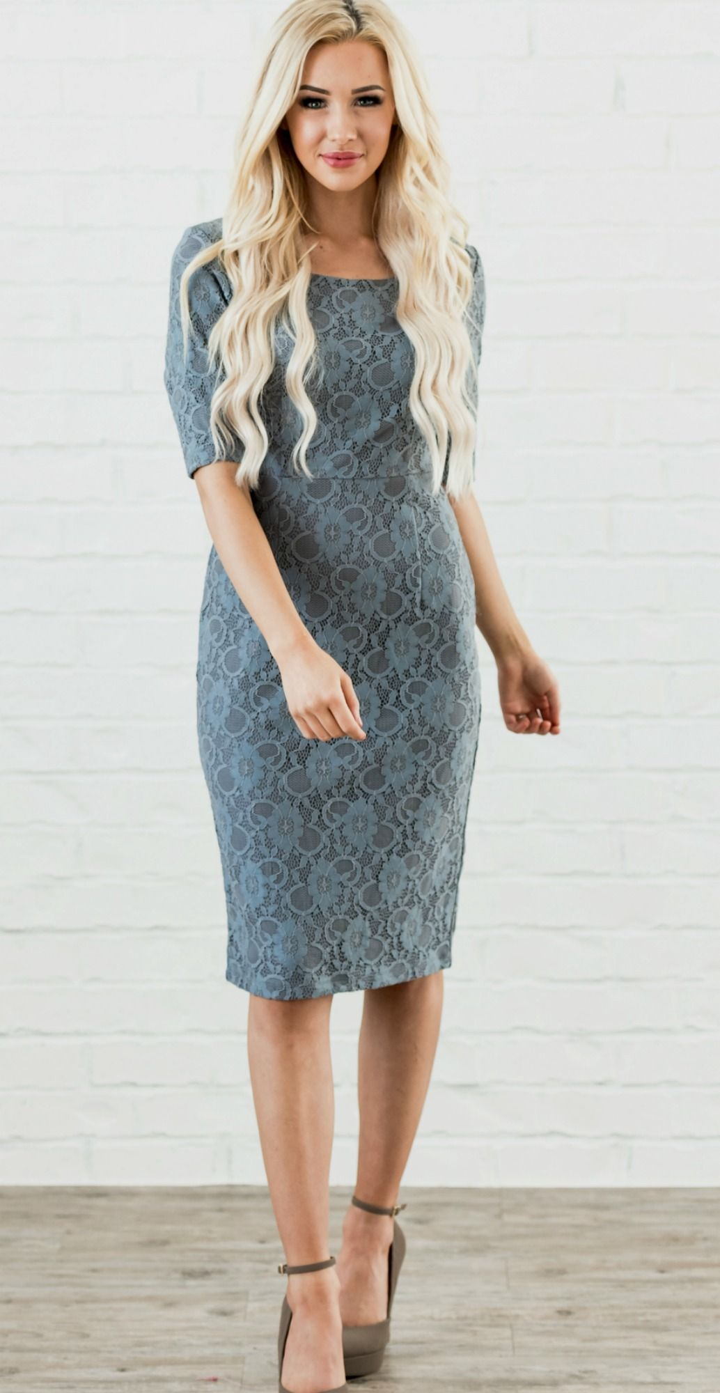 Dusty blue pencil dress