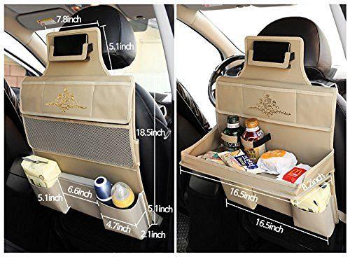 Kmmotors Multi Table Car Back Seat Organizer Beige Travel Storage