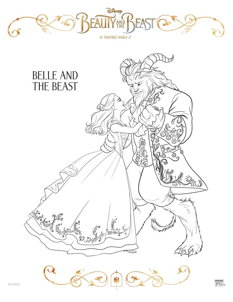 Printable Coloring Pictures Of Beauty And The Beast. Beauty And The Beast Coloring Sheets  Time To Get Excited
