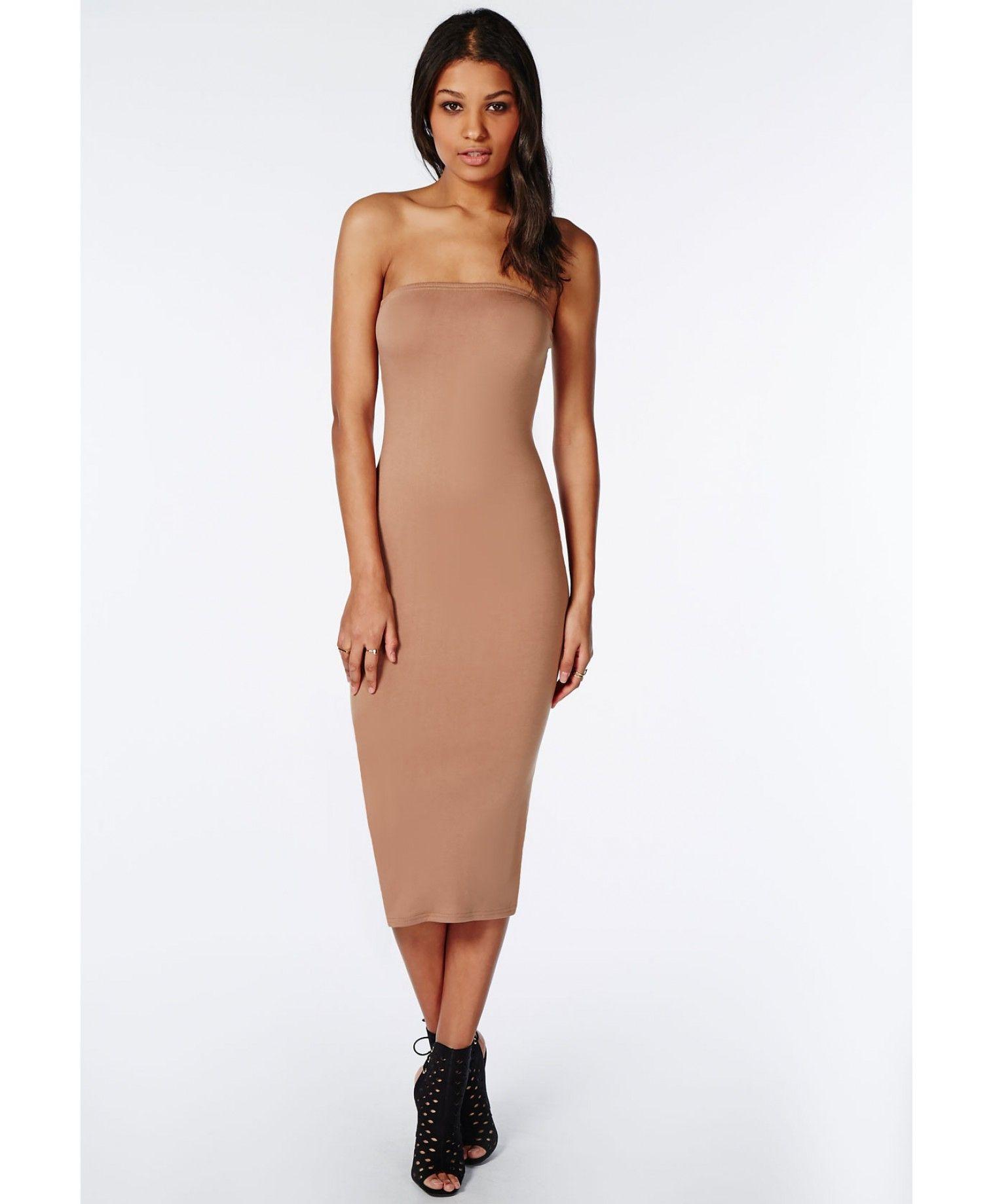 Camel Strapless Jersey Midi Dress Beige  Midi Dresses  Pinterest ...