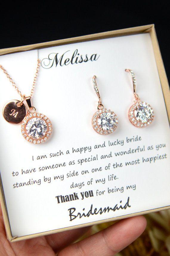 Bridesmaid Gift Jewelry Set Earrings Necklace Bracelet Personalized Wedding Please