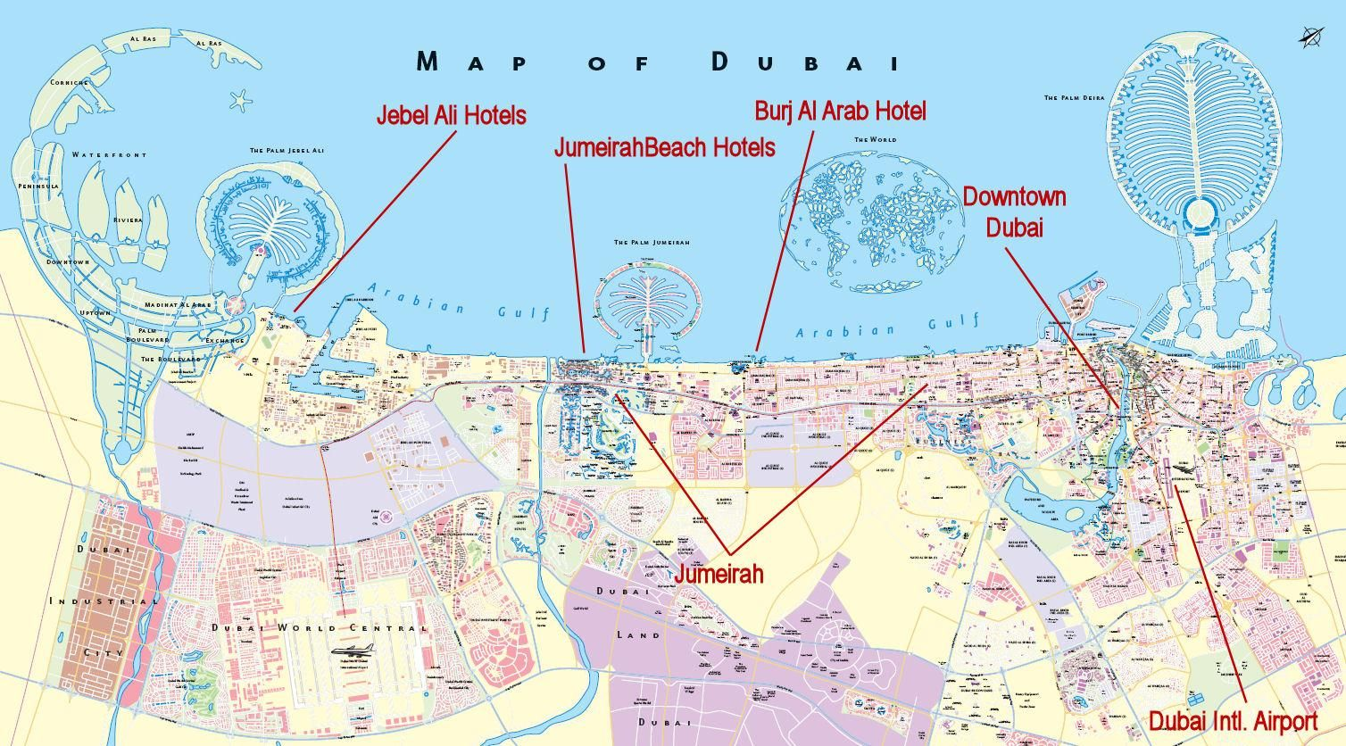Complete Dubai City Map plus Travel Information Guide for