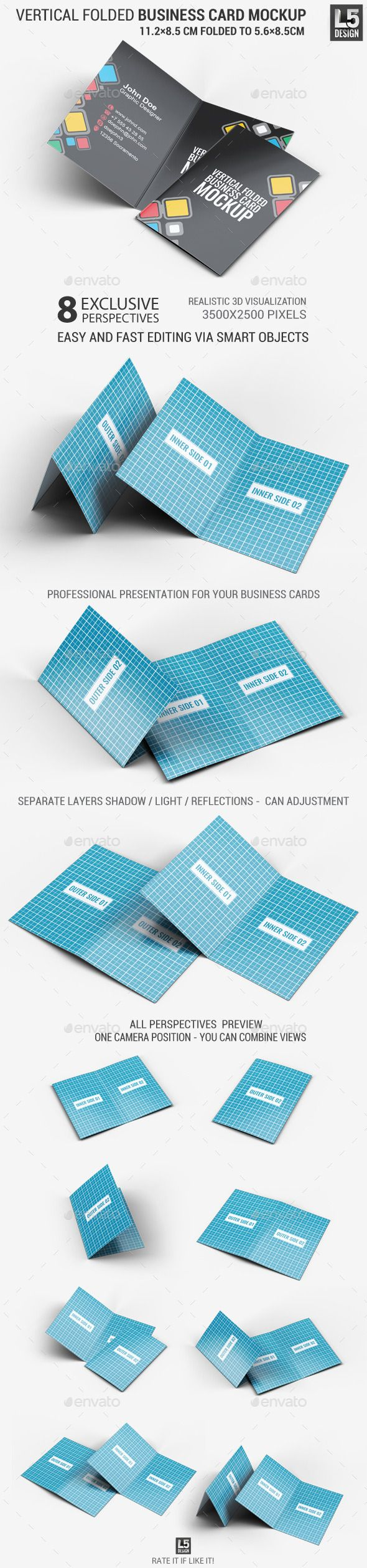 Vertical Folded Business Card Mock-Up | Business cards, Mockup and ...