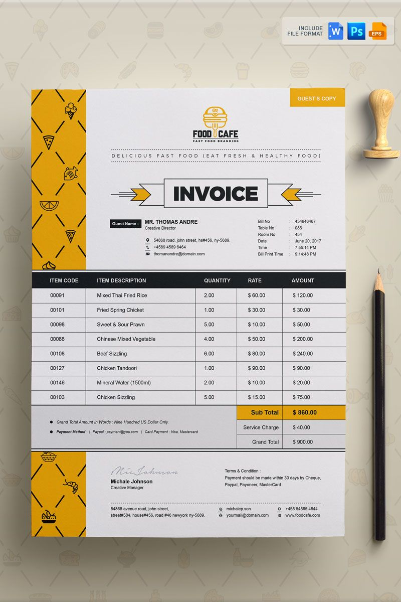 Fast food invoice corporate identity template 74881 with