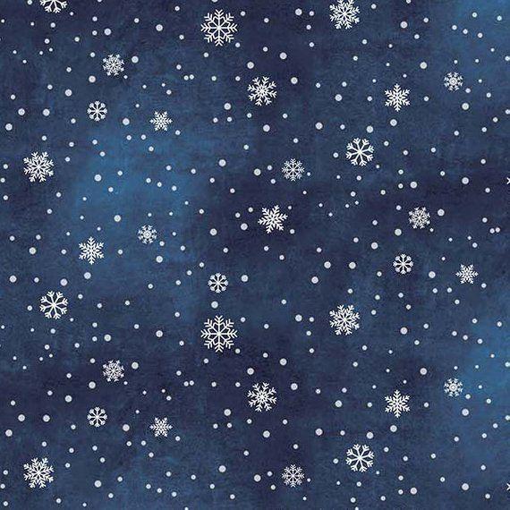 Blue Christmas Tree Wallpaper: Tiny And Small White Snowflakes, Tonal Midnight Blue