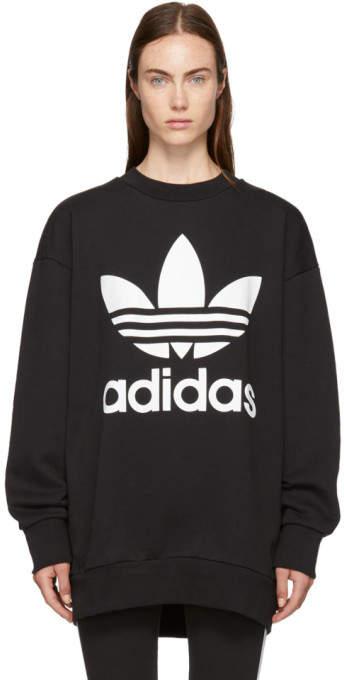 adidas Black Oversized Logo Sweatshirt Dress | The look