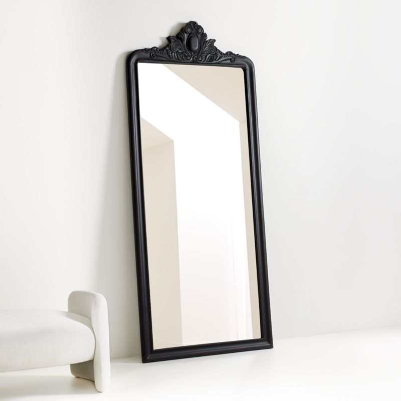 Levon Carved Wood Floor Mirror By Leanne Ford Reviews Crate And Barrel In 2020 Floor Mirror Freestanding Mirrors Wood Floors