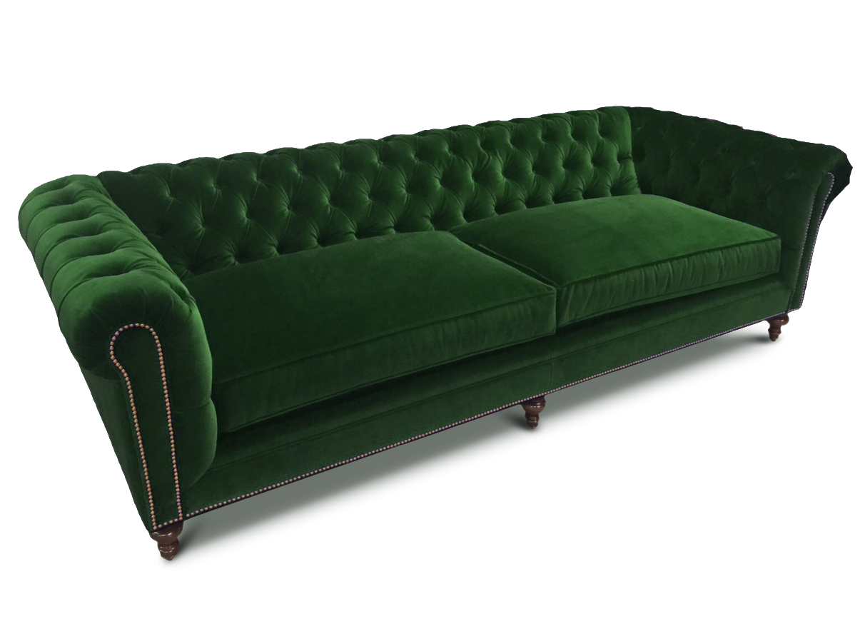 Green Velvet Tufted Seat Chesterfield Sofa The Fitzgerald From