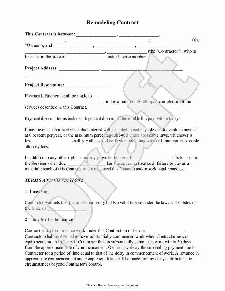 Home Improvement Contract Template Luxury 9 Best General
