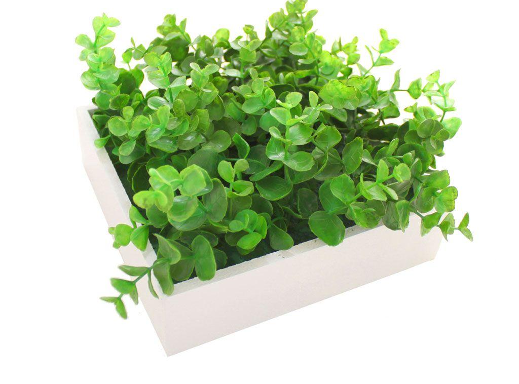 Boite en bois blanc contenant des plantes artificielles. Aucun entretien.