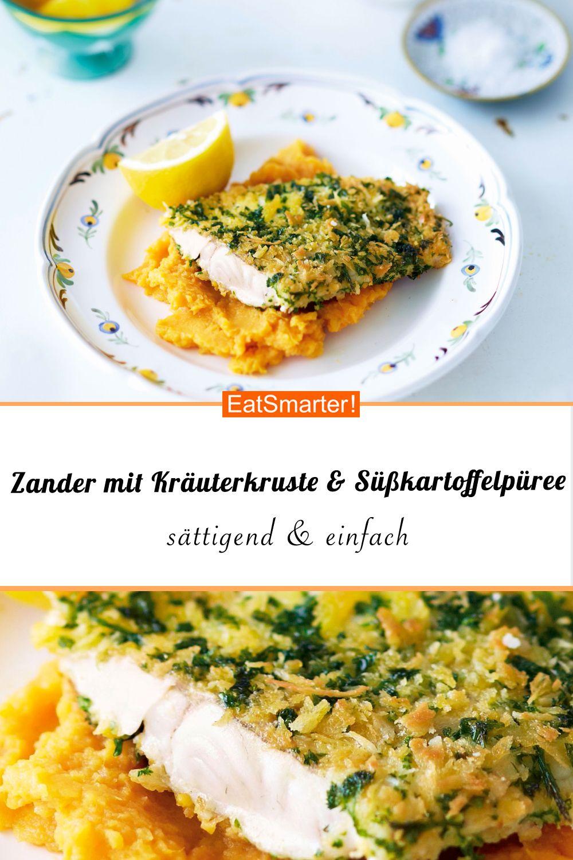 Zander mit Kräuterkruste auf Süßkartoffelpüree #easydinnerrecipes