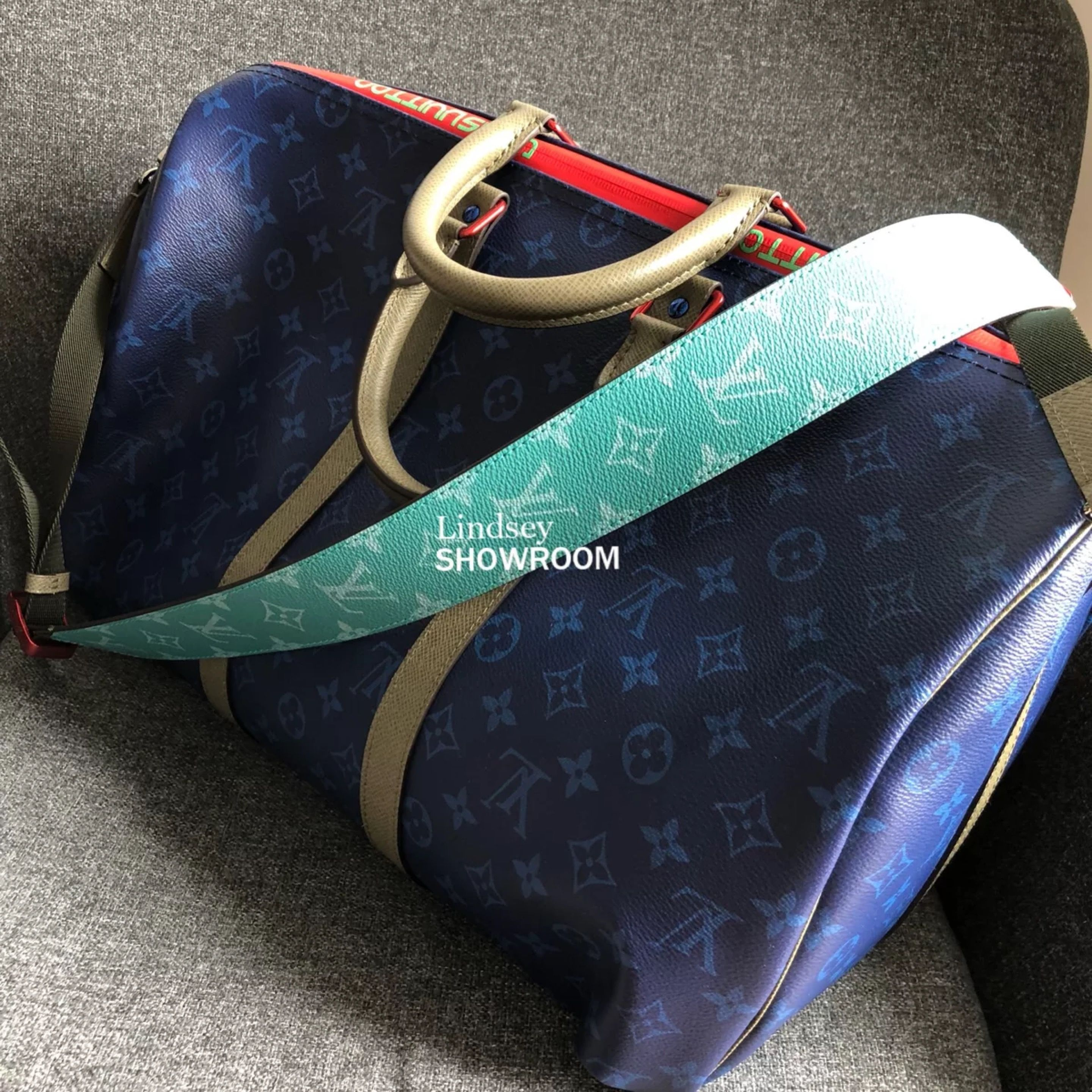 dc9ab7f5a Louis Vuitton Pacific Blue Monogram Keepall Bandouliere 45 Bag M43855 # keepall 45 #lv keepall #louis vuitton keepall 45