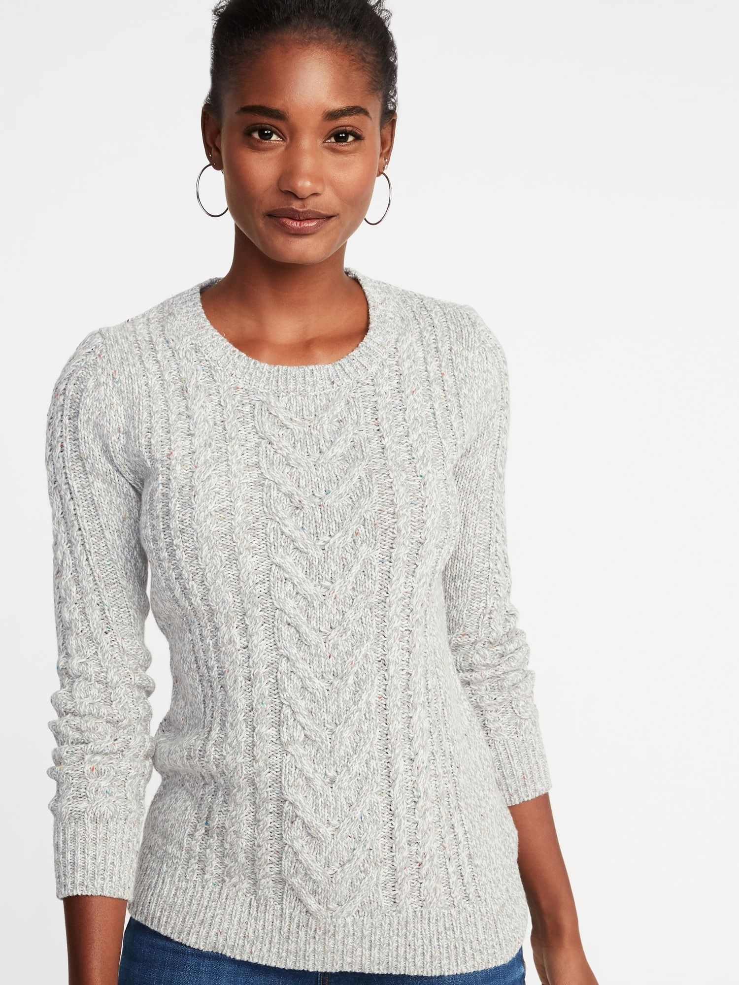 2e8539dcc9779 Cable-Knit Crew-Neck Sweater for Women
