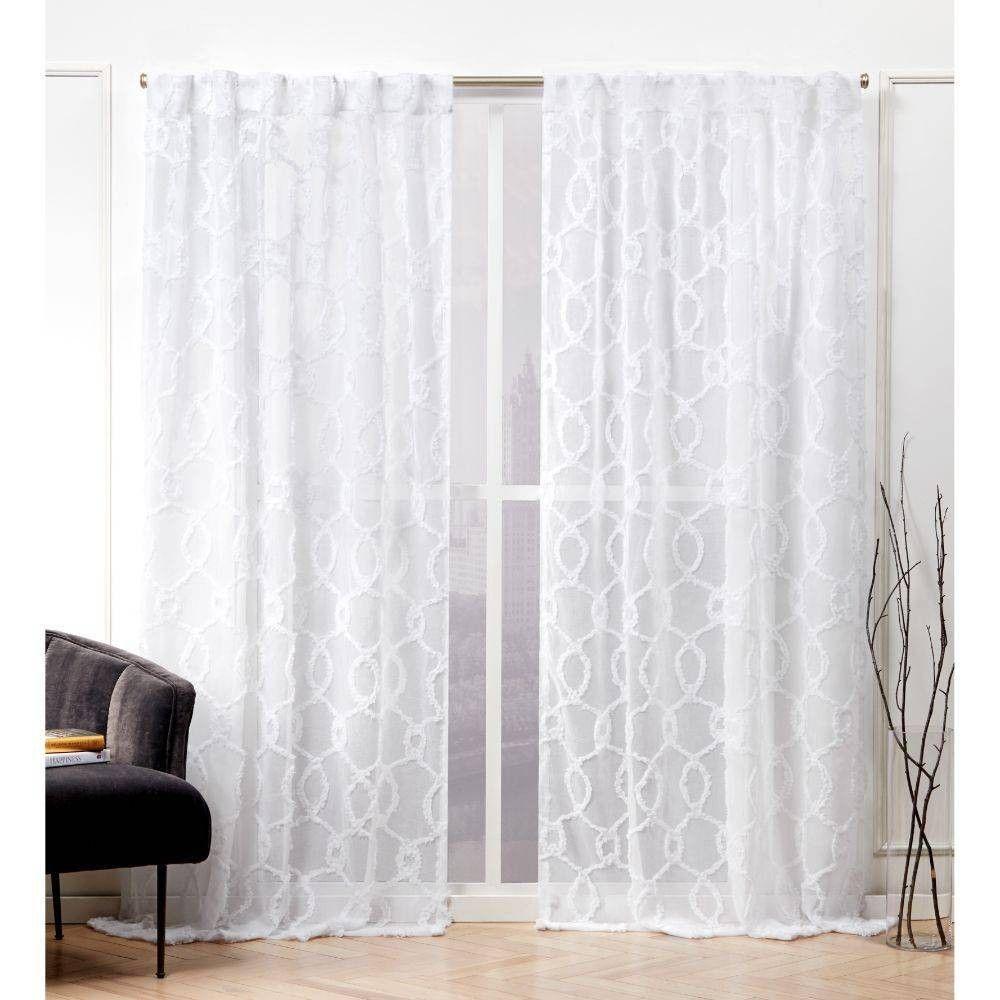 54 X96 Soft Trellis Hidden Tab Top Sheer Curtain Panel Pair White