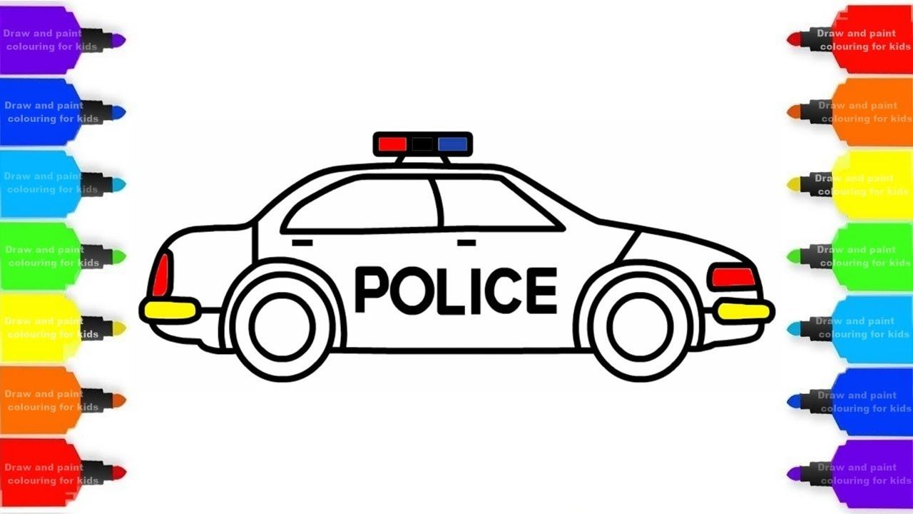 How To Draw A Police Car Colorful For Kids Coloring Pages Videos For C Police Cars Preppy Car Accessories Cool Car Stickers