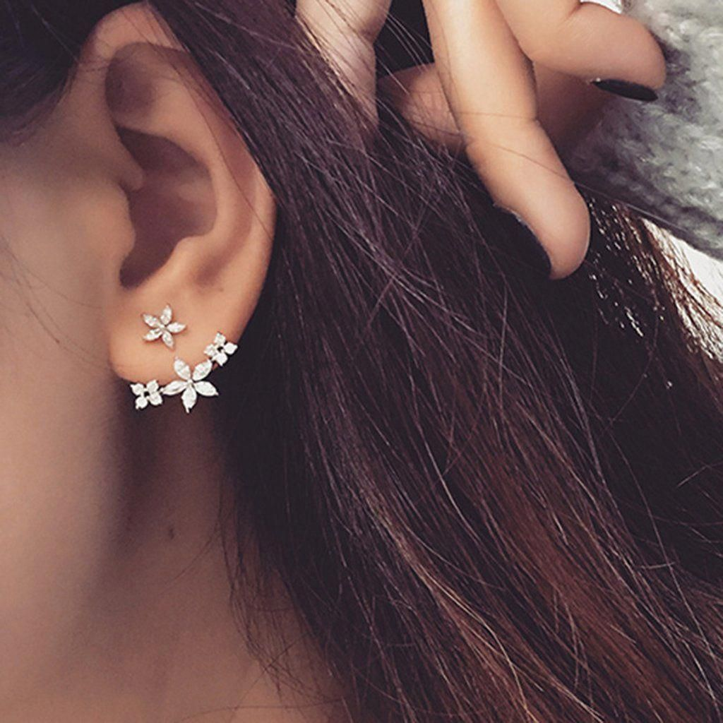 Mothers Gift Round Cut Multi Cubic Zirconia Cluster Ear Jacket With Stud Single Earring In 18K Gold Over Sterling Silver