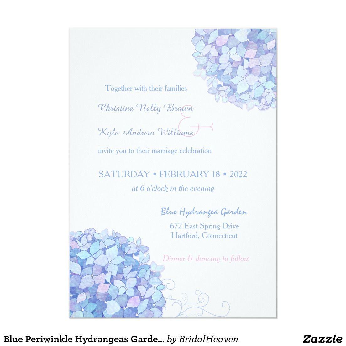Blue Periwinkle Hydrangeas Garden Wedding Invitation  Zazzle.com