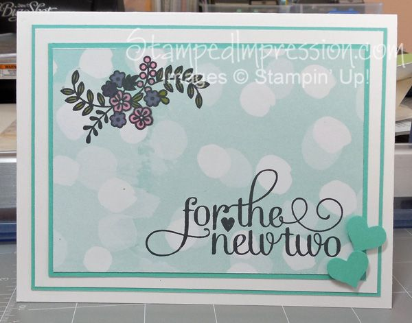 """Clean and simple wedding card made with Stampin' Up! products. Although there are 5 layers of card stock in the main card, the design is """"flat"""", making it perfect for the mail. More details on my blog at http://stampedimpression.com/celebrate-with-two/"""