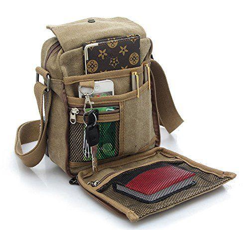 Ecokaki Tm Canvas Small Messenger Bag Casual Shoulder Bag