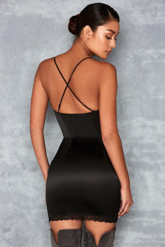 She wolf black satin midi dress
