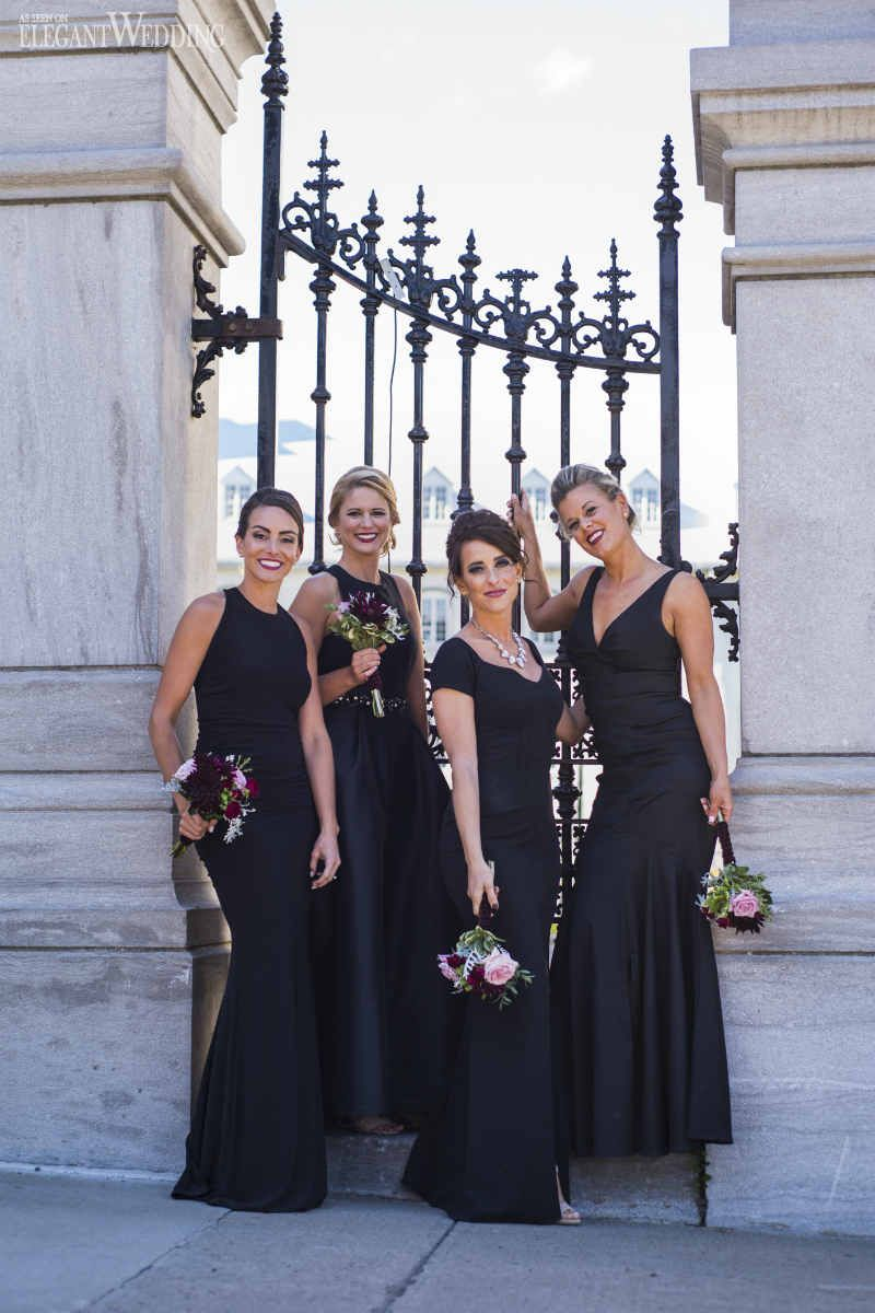 Black bridesmaids dresses are such a classic yet sleek choice black bridesmaids dresses are such a classic yet sleek choice glamorous wedding in qubec city ombrellifo Image collections