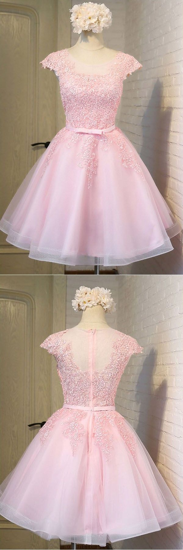 Outlet Feminine Prom Dresses Pink Pink Lace Short Tulle Homecoming ...