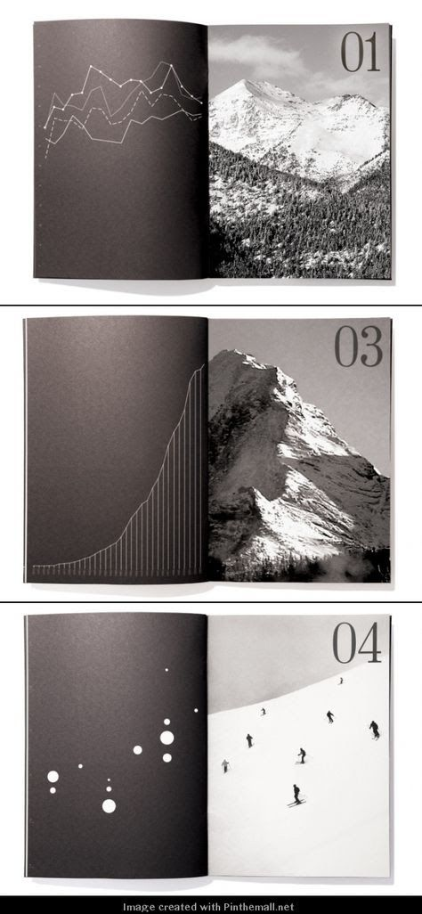 Clean, black and white minimalist publication layout with mountain & landscape p...