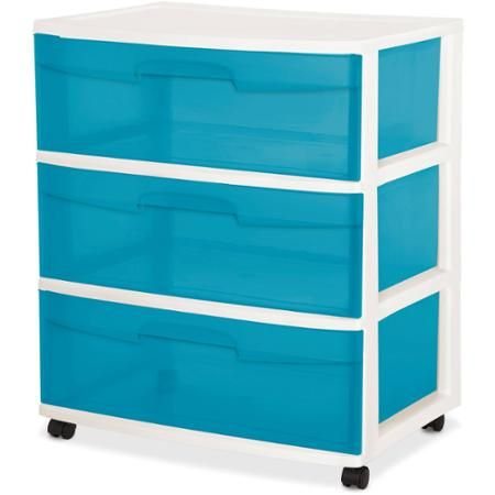 Sterilite 3 Drawer Wide Cart Aqua Blue Tint Walmart Com