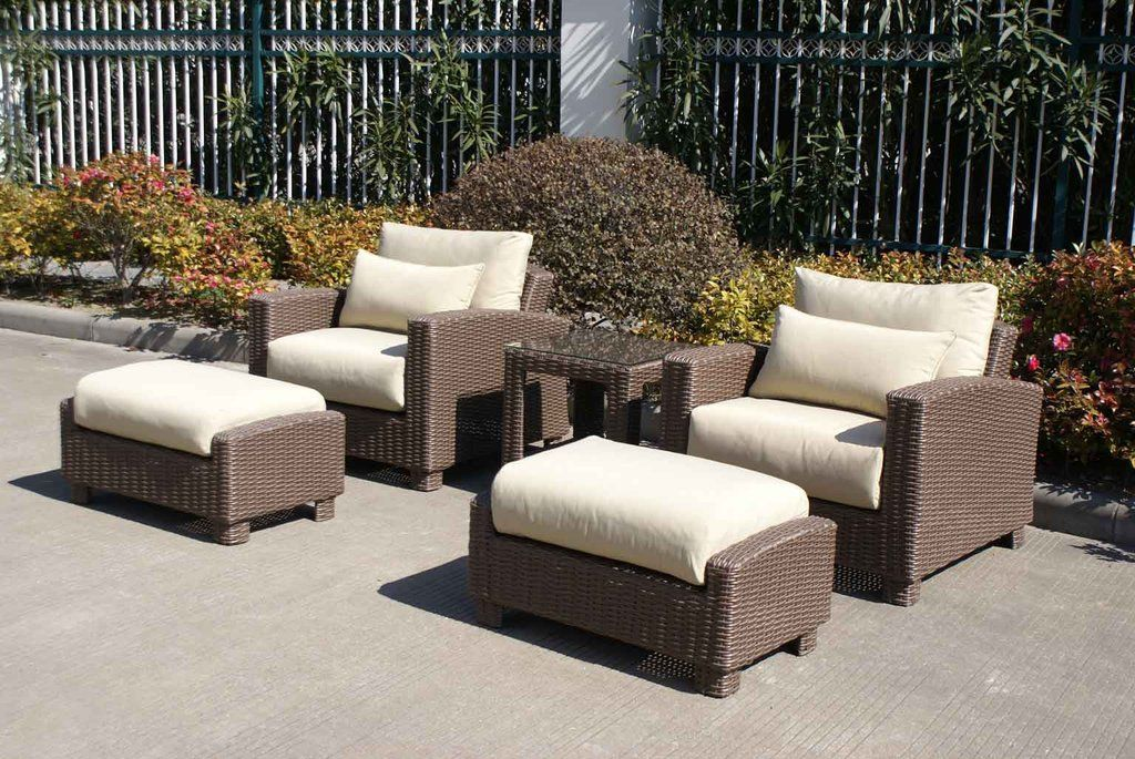 Best Duxbury 5 Piece Outdoor Wicker Club Chair Set Club 640 x 480