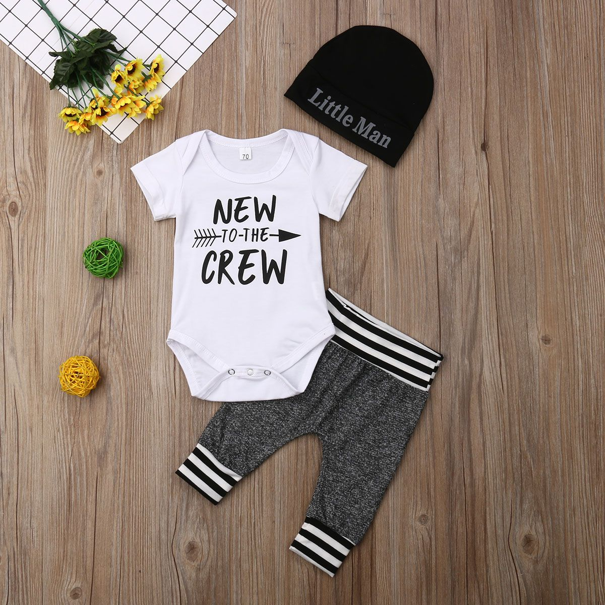 Newborn Baby Boy Clothes New to The Crew Letter Print Short Sleeve Romper Long Pants Hat 3Pcs Outfits Set