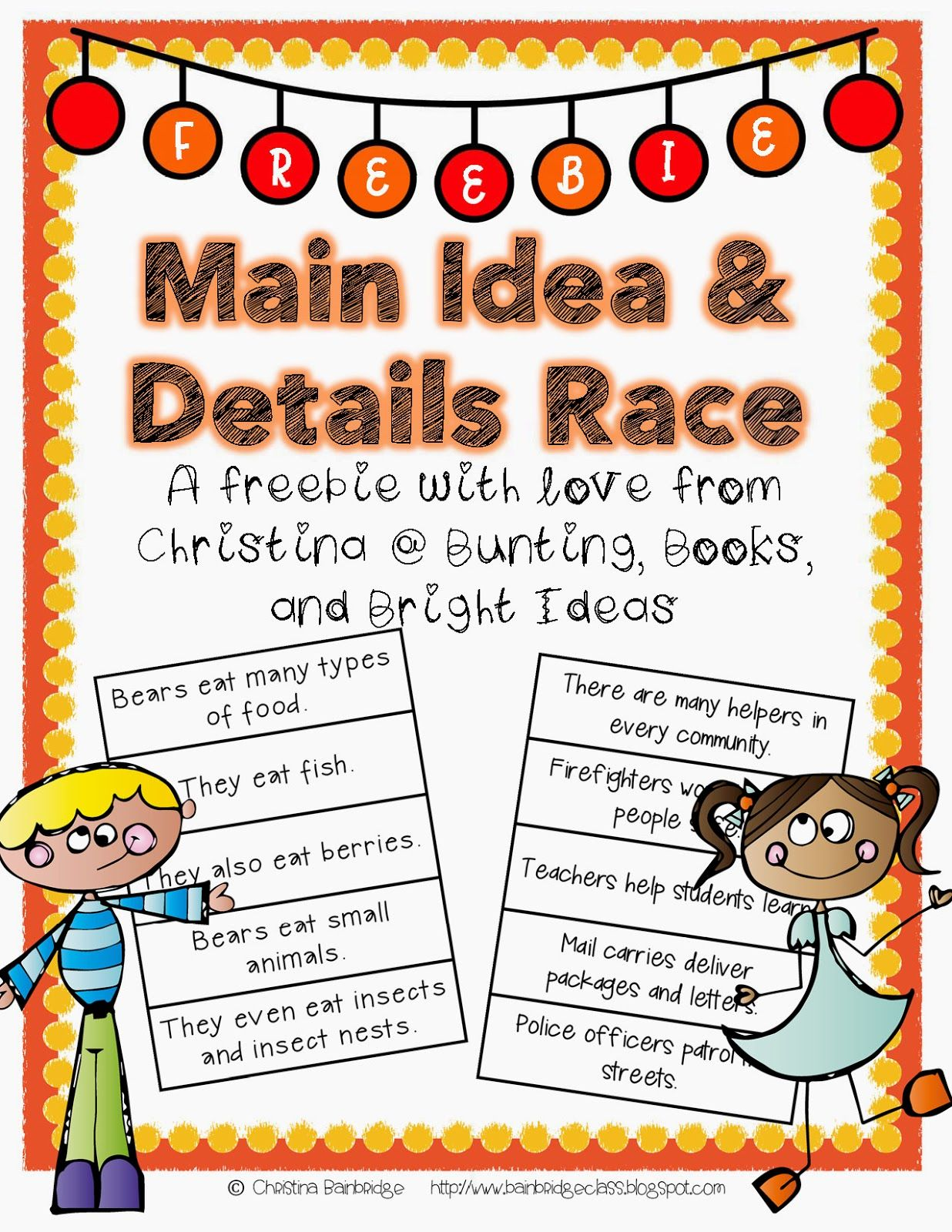 Main Idea And Details Freebie Main Idea