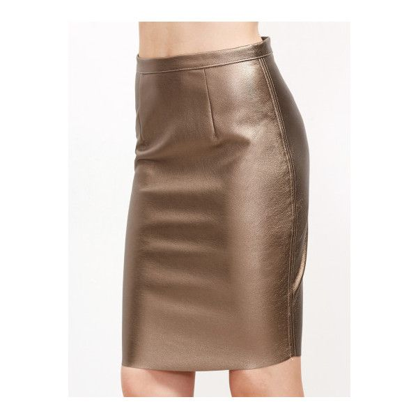 SheIn(sheinside) Gold Zipper Back Metal Skirt ($17) ❤ liked on Polyvore featuring skirts, gold, back zip pencil skirt, brown skirt, stretch skirts, metal skirt and brown pencil skirt
