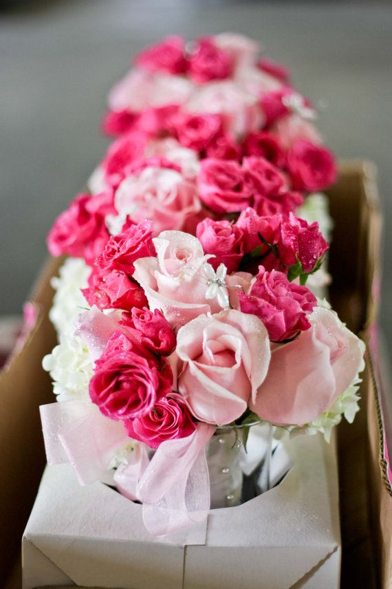 Silk Pink Hot Pink Roses And White Hydrangeas Bouquets Wedding