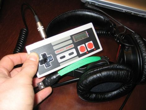 NES controller cannibalized for MP3 player enclosure.