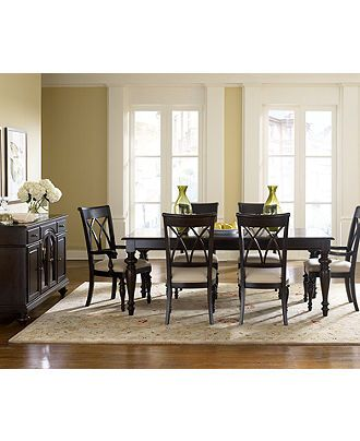 Really like this dining room table at Macys I love the dark finish