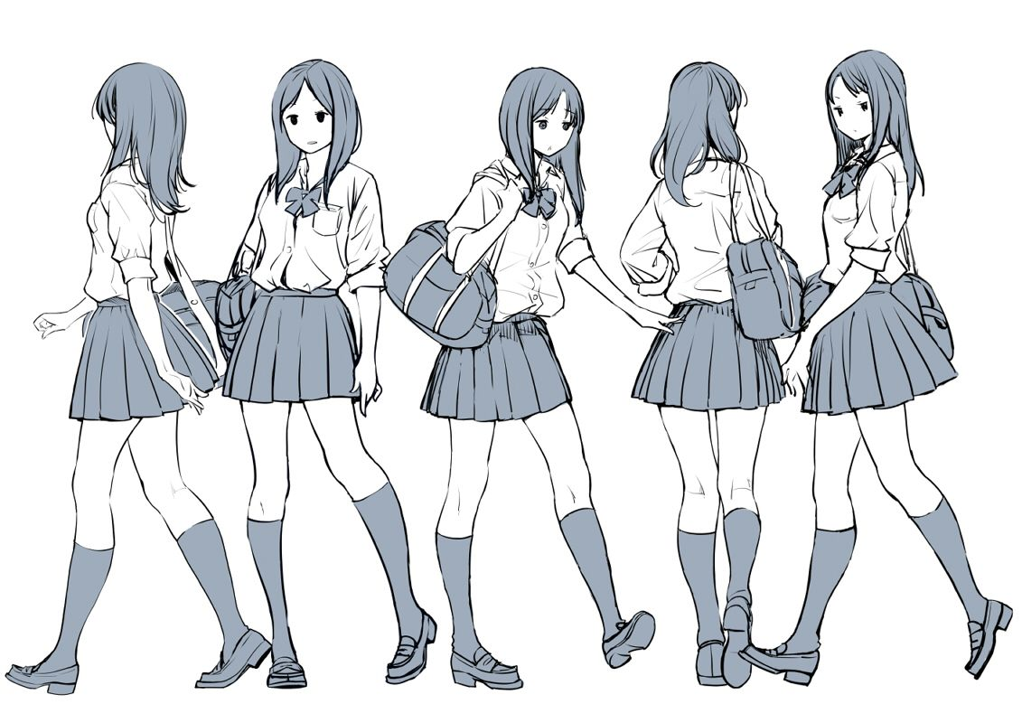 1girl Back Bag Character Sheet Kneehighs Loafers Long Hair Monochrome Original Parted Lips Pleated Skirt Ribbon Schoo Art Reference Poses Art Poses Manga Poses