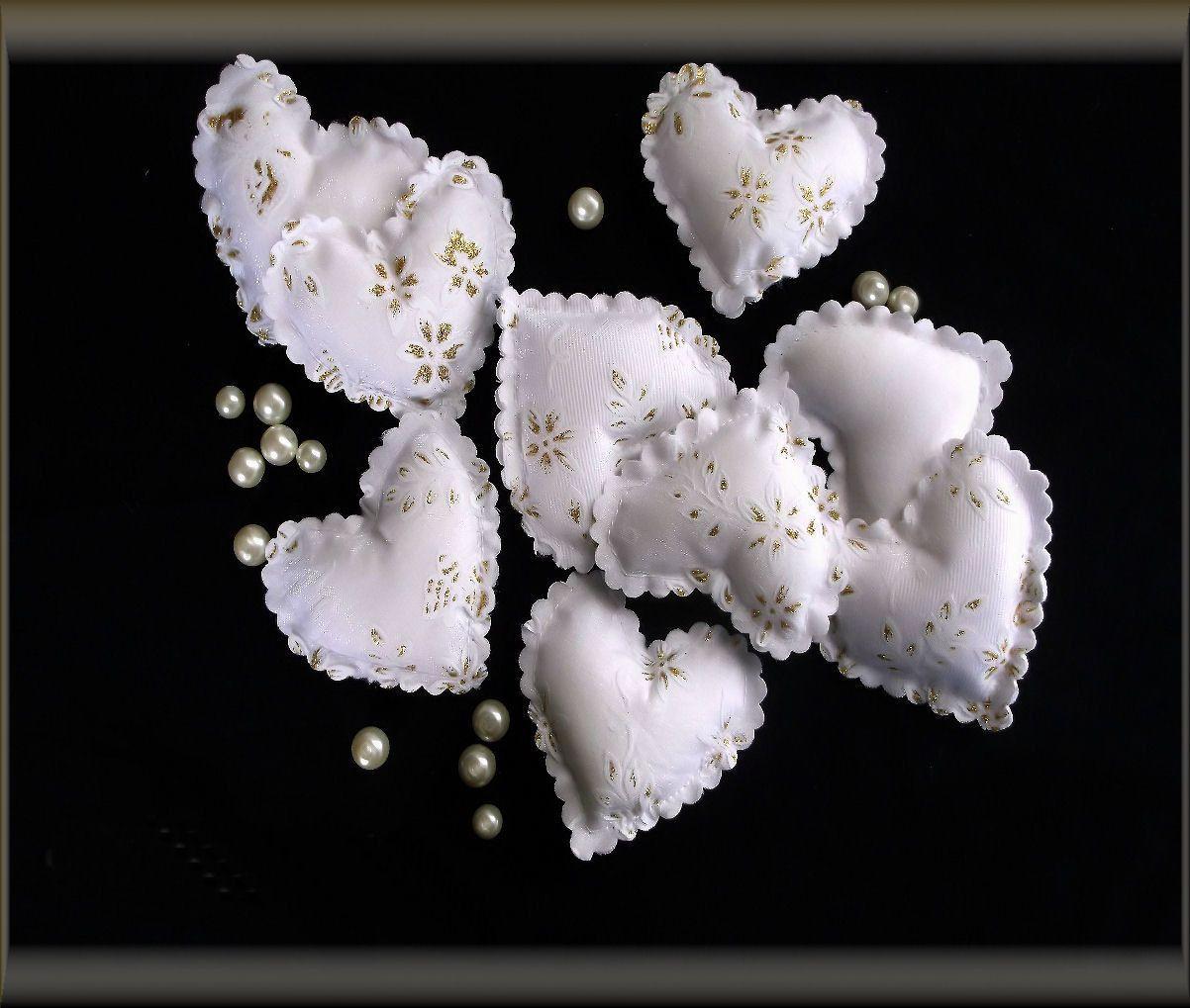 Coussins petits coeurs blanc organza pour décoration (5p) : Accessoires de maison par orkan28