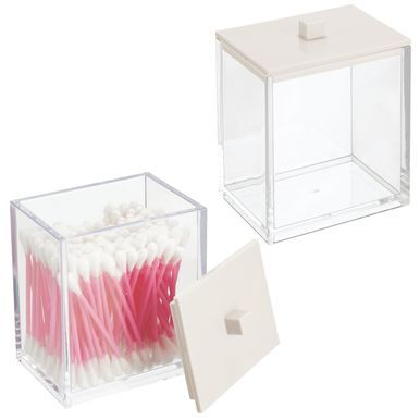 Photo of Square Plastic Bathroom Vanity Storage Canister Jar
