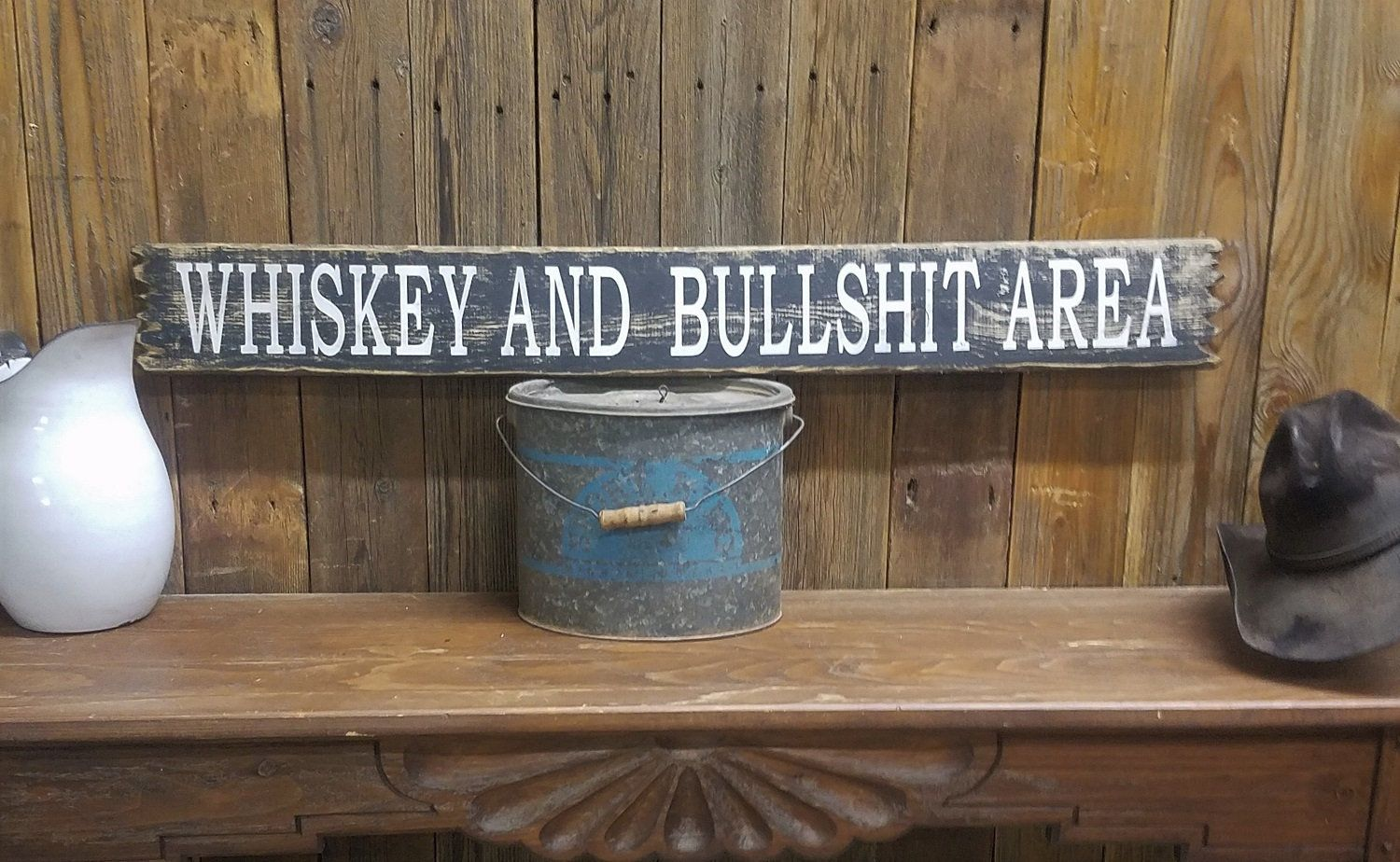 Bar Sign, Tavern, WHISKEY and BULLSHIT Area Rustic Wood Sign,Man Cave,Porch decor, Patio,Garage,BBQ,Shed, Barn